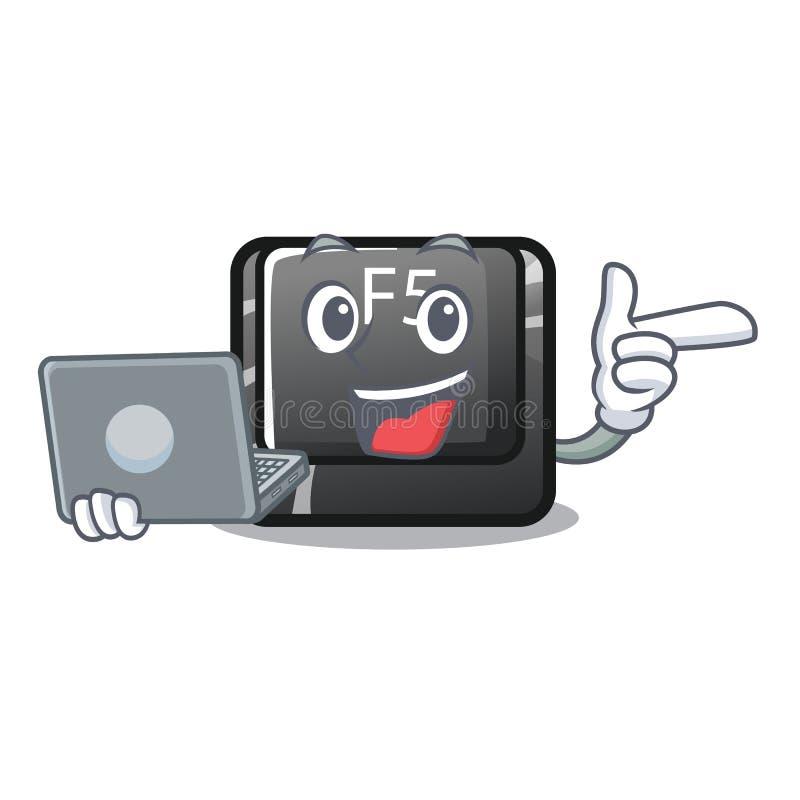 Avec le bouton d'ordinateur portable f5 a isolé avec le caractère illustration stock