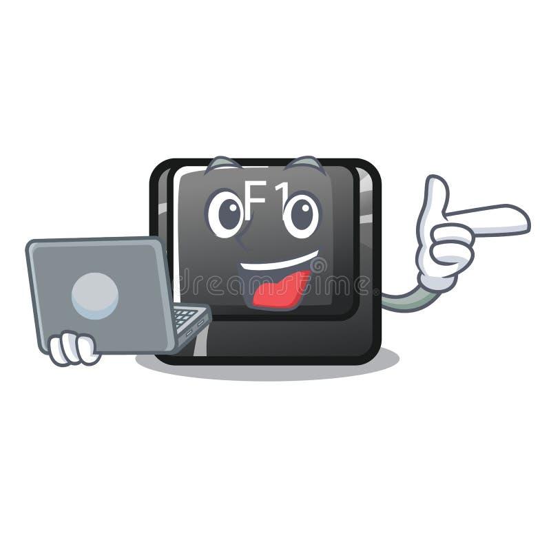 Avec le bouton d'ordinateur portable f1 a isolé dans la mascotte illustration de vecteur