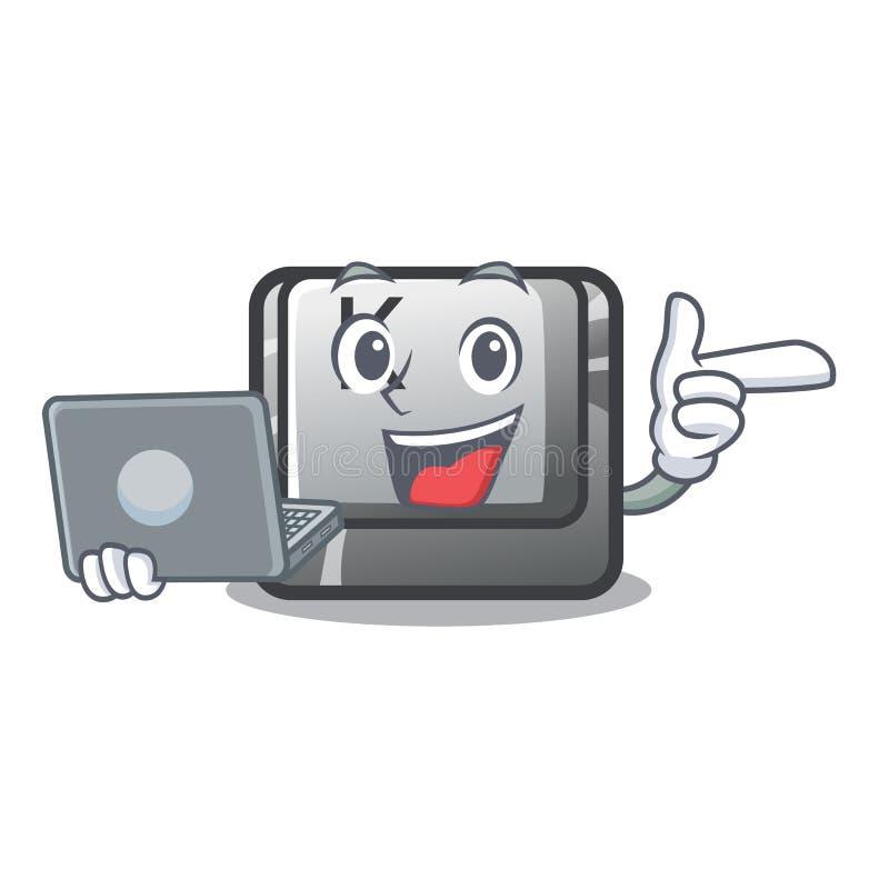 Avec le bouton d'ordinateur portable K a isolé avec la mascotte illustration stock
