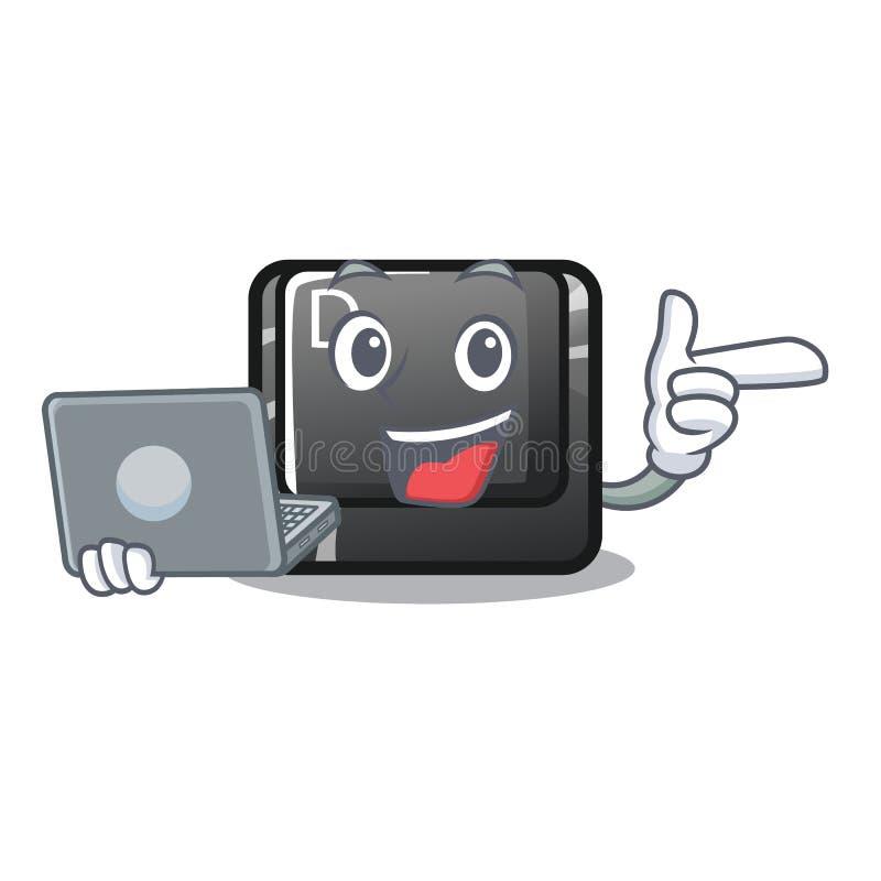 Avec le bouton D d'ordinateur portable sur une mascotte d'ordinateur illustration de vecteur
