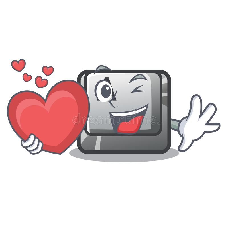Avec le bouton A de coeur sur un komputer de caractère illustration libre de droits