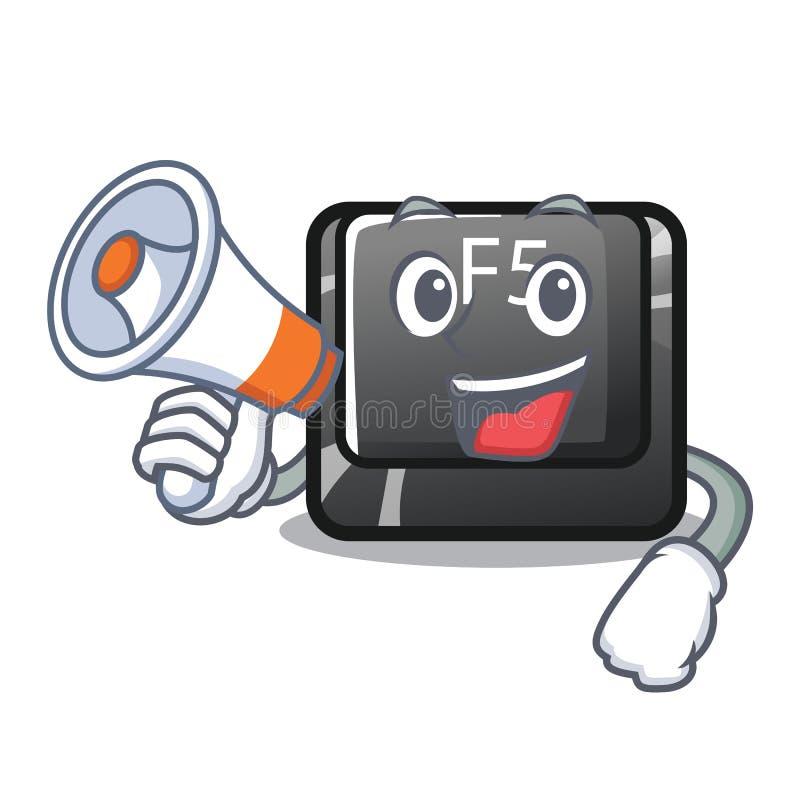Avec le bouton de mégaphone f5 a isolé avec le caractère illustration libre de droits
