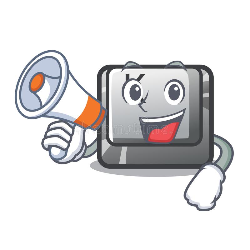 Avec le bouton de mégaphone K a isolé avec la mascotte illustration stock