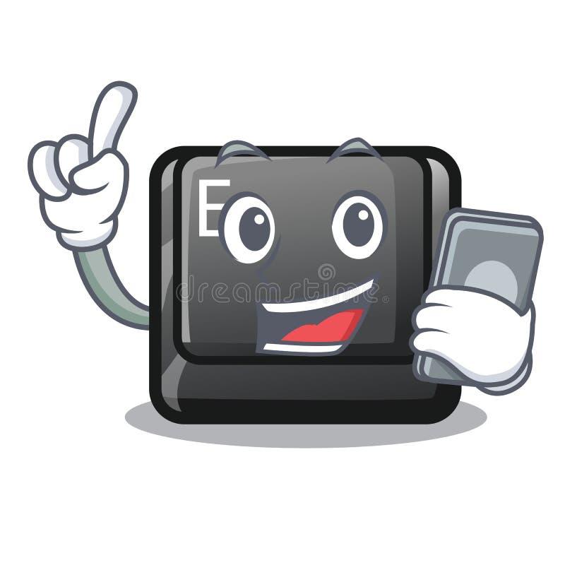 Avec le bouton de téléphone E a isolé avec le caractère illustration libre de droits