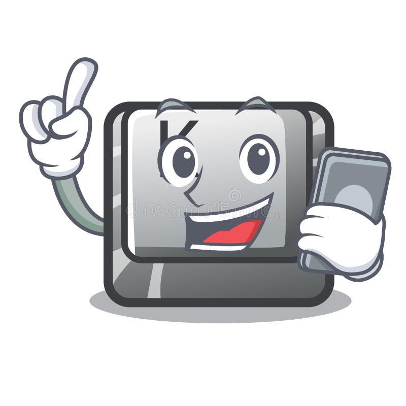 Avec le bouton de téléphone K a isolé avec la mascotte illustration stock