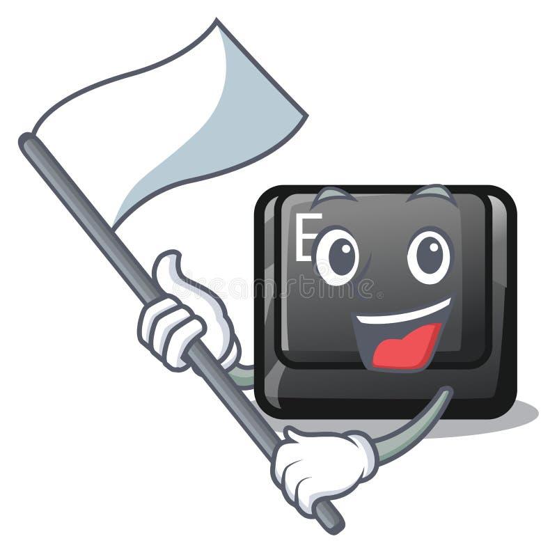 Avec le bouton E de drapeau sur une bande dessinée de jeu illustration de vecteur