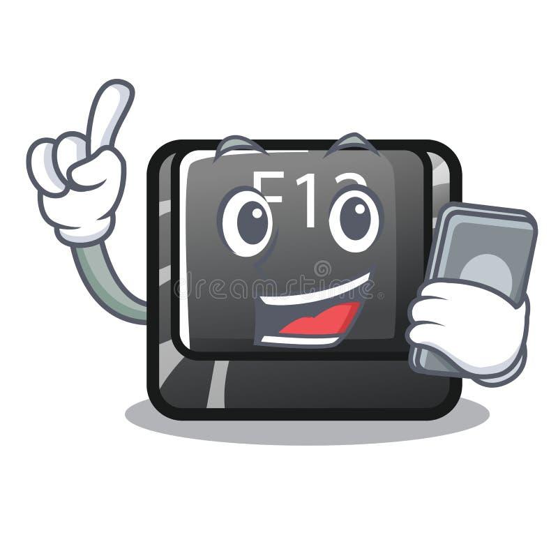 Avec le bouton f12 de téléphone sur une mascotte de clavier illustration de vecteur