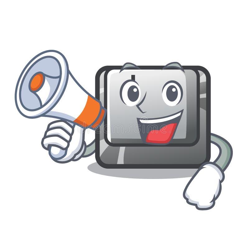 Avec le bouton I de mégaphone sur une mascotte de clavier illustration de vecteur