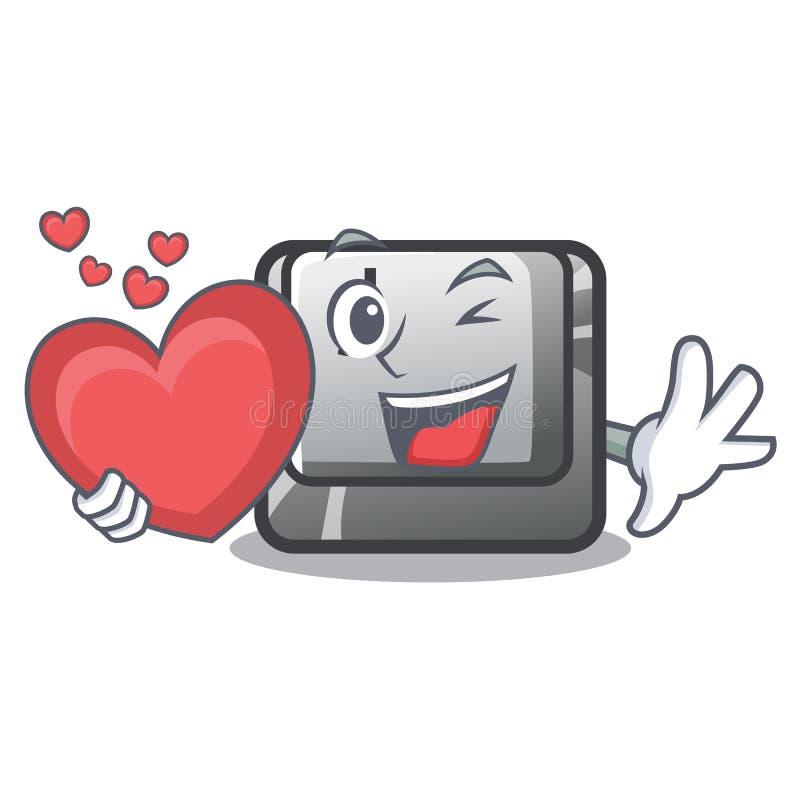 Avec le bouton J de coeur sur un caractère d'ordinateur illustration de vecteur
