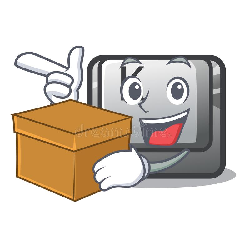 Avec le bouton K de boîte dans la forme de bande dessinée illustration stock