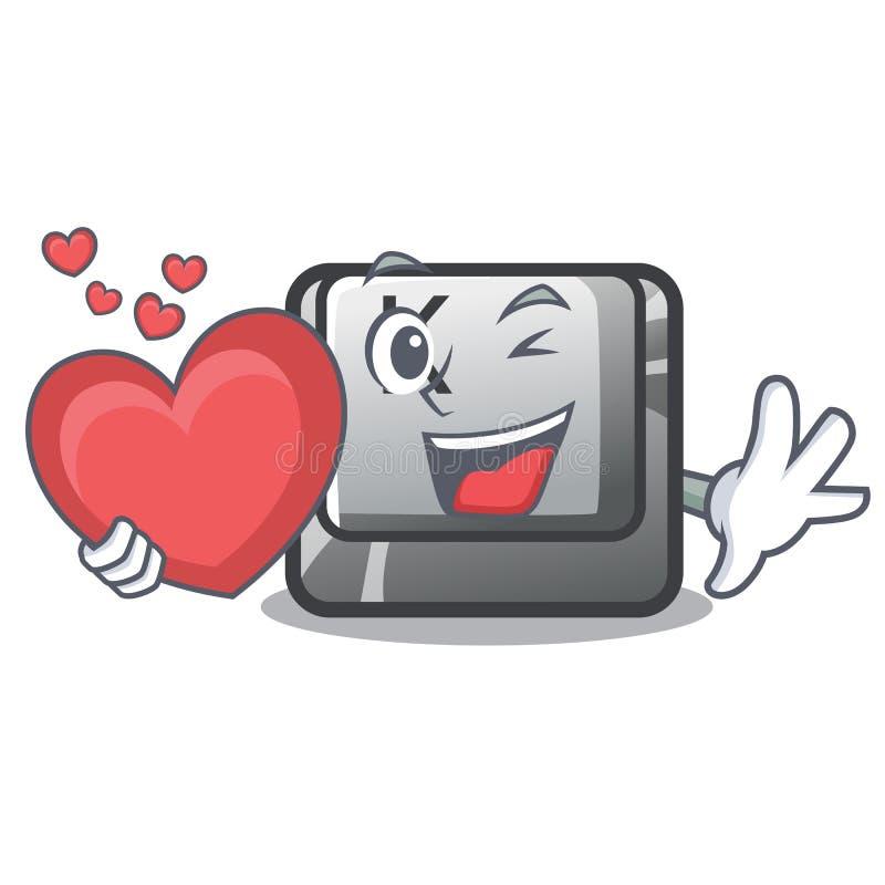 Avec le bouton K de coeur sur un ordinateur de caractère illustration de vecteur