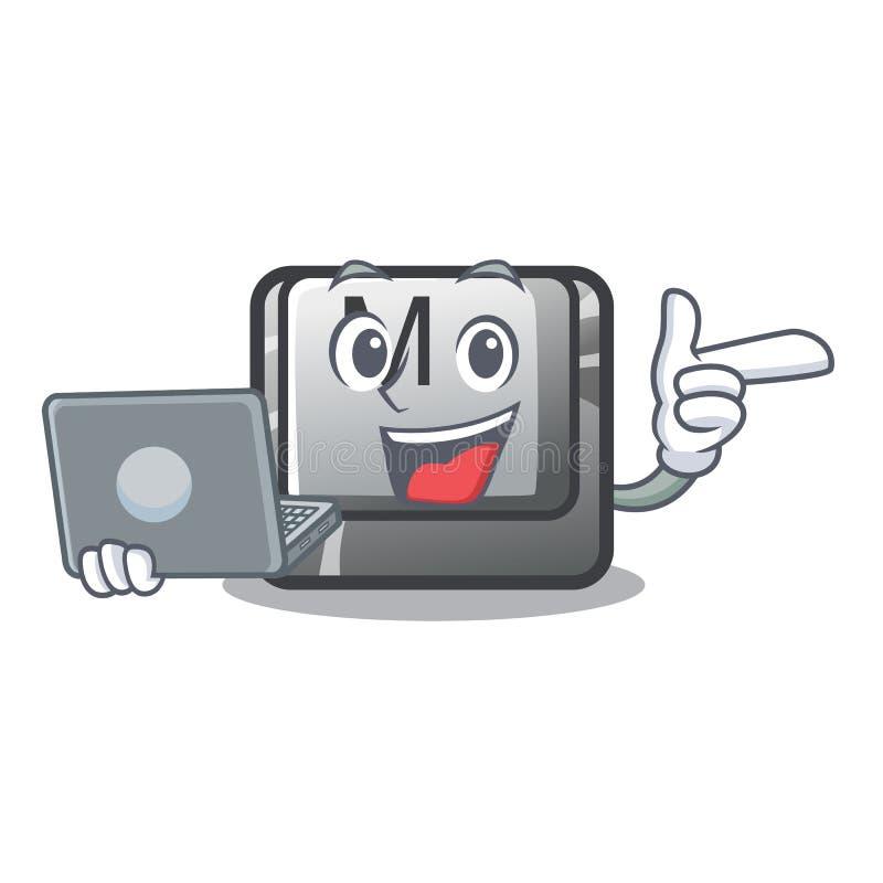 Avec le bouton M d'ordinateur portable sur une mascotte de clavier illustration de vecteur