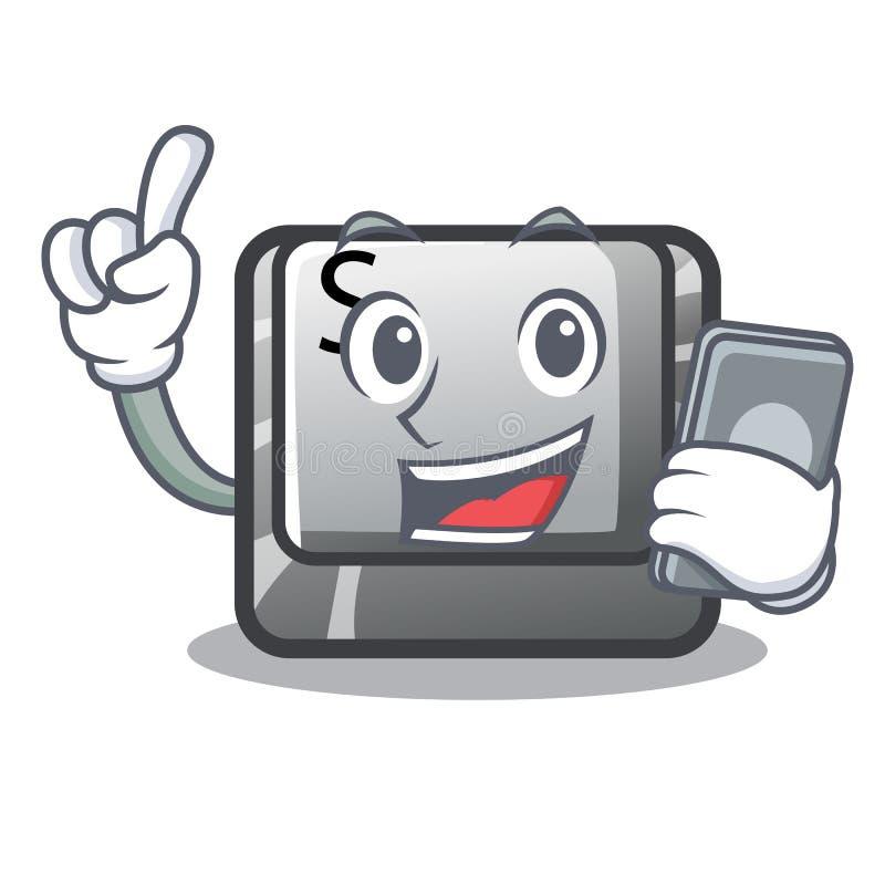 Avec le bouton S de téléphone dans la forme de bande dessinée illustration stock