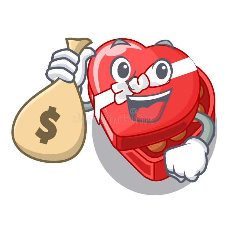 Avec le coeur de boîte à chocolat de sac d'argent au-dessus de la table de bande dessinée illustration stock