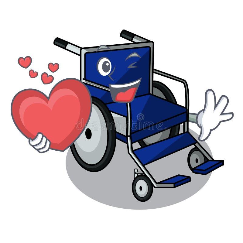 Avec le fauteuil roulant de bande dessinée de coeur dans une chambre d'hôpital illustration libre de droits