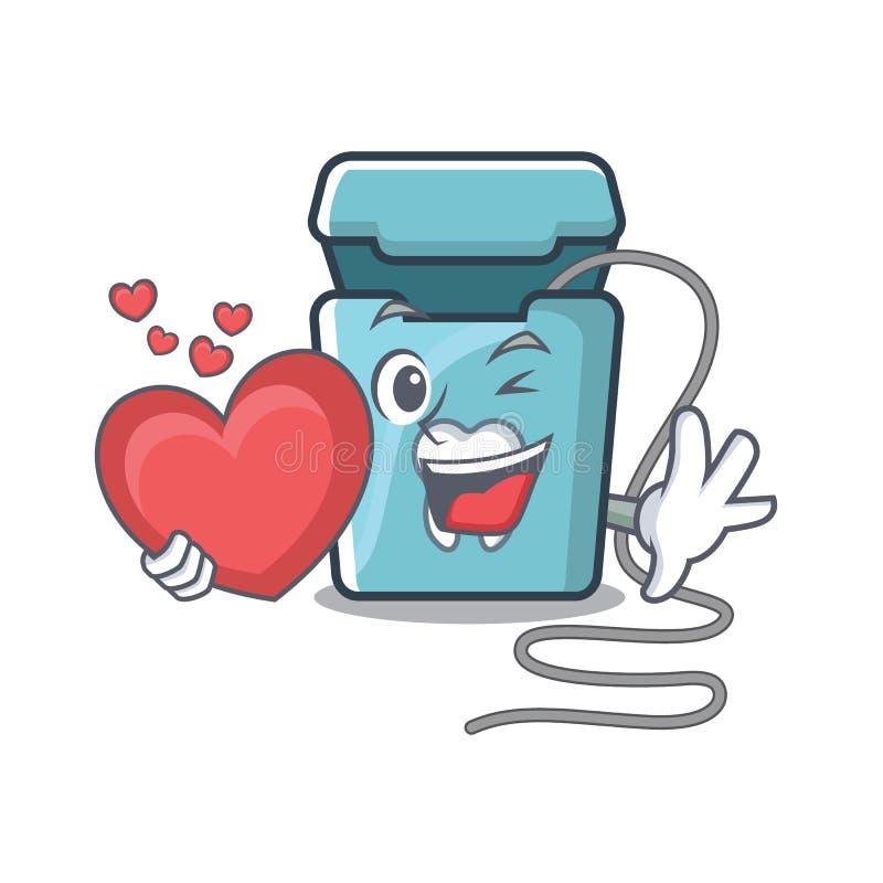 Avec le fil dentaire de coeur dans une boîte de mascotte illustration libre de droits