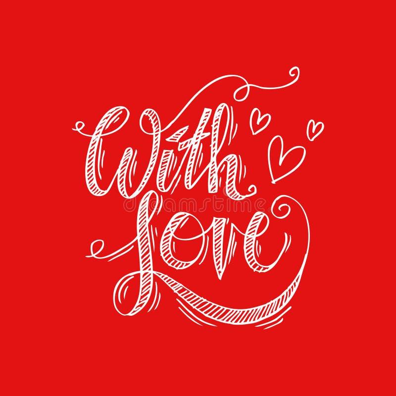 Download Avec Le Lettrage De Main D'amour Illustration Stock - Illustration du invitation, ensemble: 87707742
