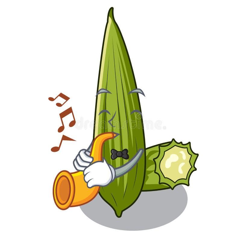 Avec le luffa de trompette dans la forme de bande dessinée d'a illustration stock