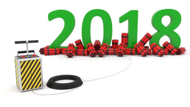 2018 avec le paquet et le detenator de dynamite illustration 3D illustration de vecteur