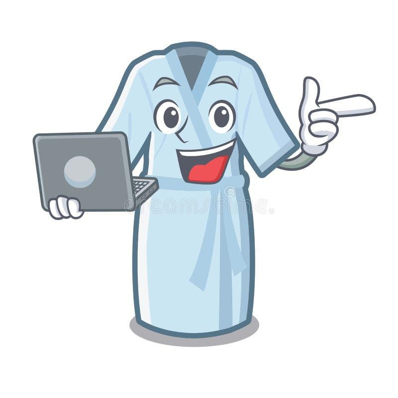 Avec le peignoir d'ordinateur portable dans la forme de bande dessinée d'a illustration de vecteur