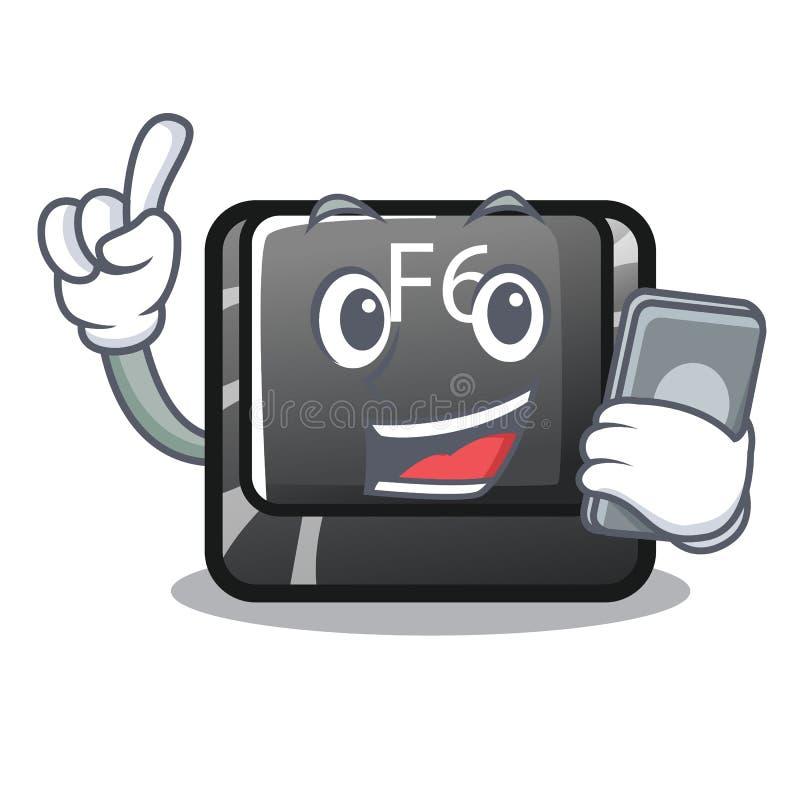 Avec le plus long bouton F6 de téléphone sur l'ordinateur de bande dessinée illustration de vecteur