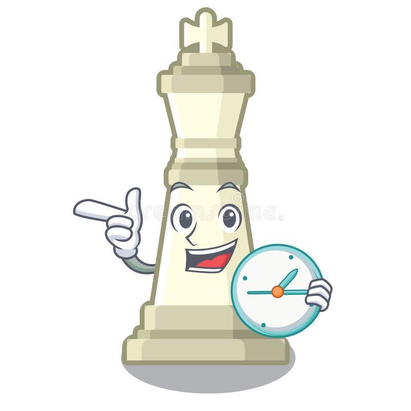 Avec le roi d'échecs d'horloge sur la mascotte illustration de vecteur