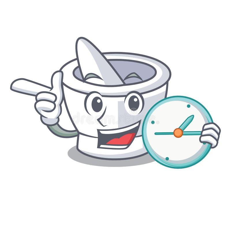 Avec le style de bande dessinée de caractère de mortier d'horloge illustration libre de droits