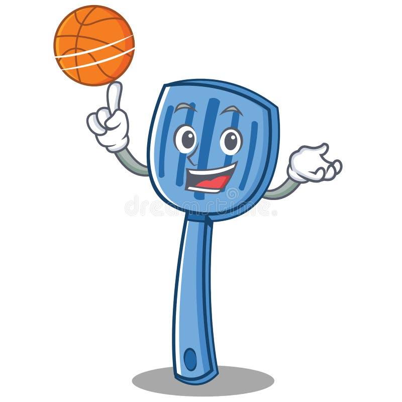 Avec le style de bande dessinée de caractère de spatule de basket-ball illustration stock
