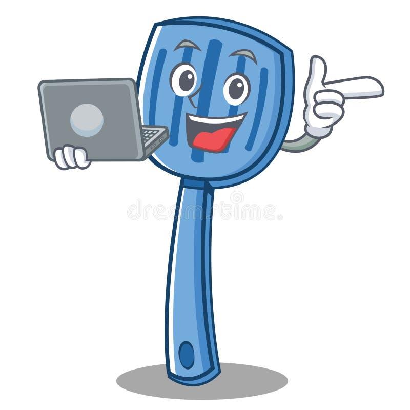 Avec le style de bande dessinée de caractère de spatule d'ordinateur portable illustration de vecteur