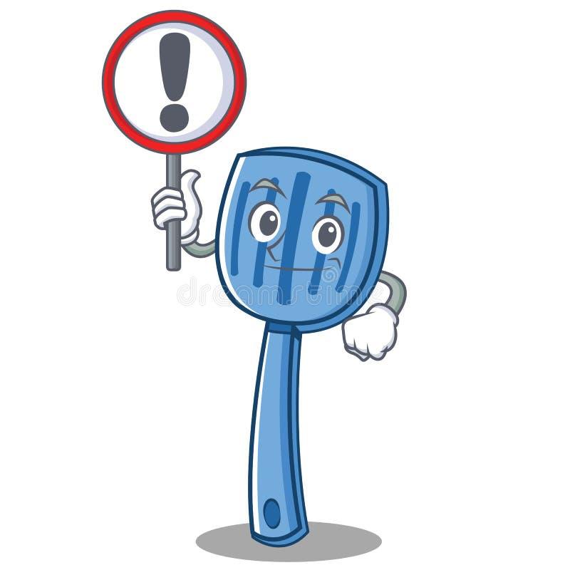 Avec le style de bande dessinée de caractère de spatule de signe illustration de vecteur