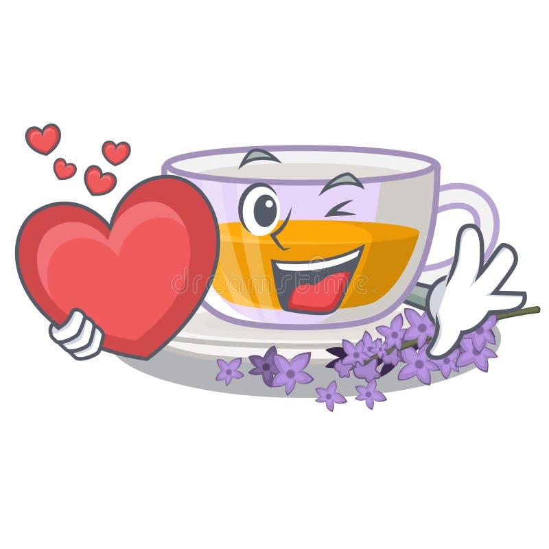 Avec le thé de lavande de coeur dans le réfrigérateur de caractère illustration stock