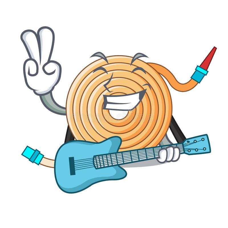 Avec le tuyau de l'eau de guitare pour s'éteindre le feu illustration de vecteur
