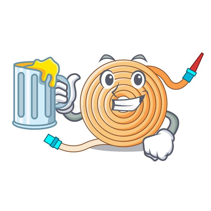 Avec le tuyau de l'eau de jus pour s'éteindre le feu illustration de vecteur