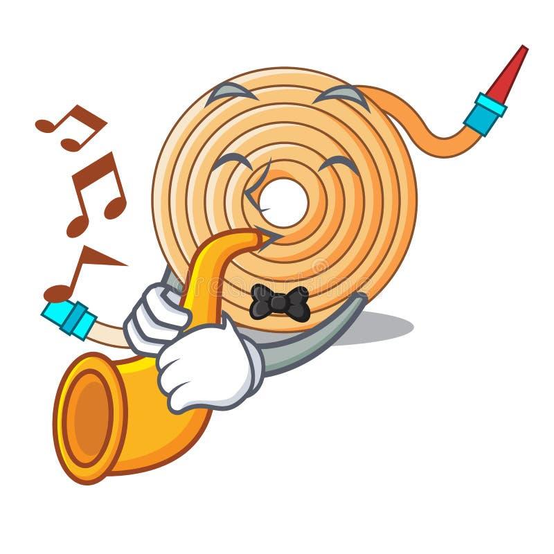 Avec le tuyau de l'eau de trompette pour s'éteindre le feu illustration stock