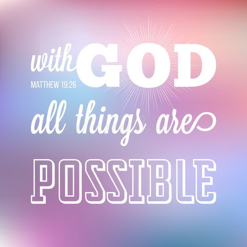 Avec un dieu toutes les choses sont possibles illustration libre de droits