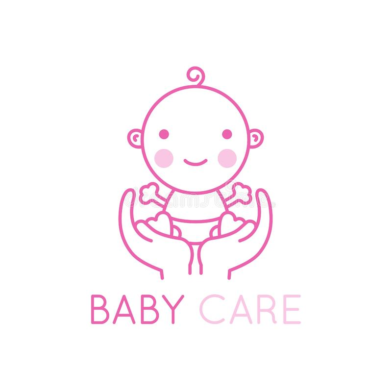 AVector logo design element and emblem - baby care and love. Vector logo design element and emblem - baby care and love concept - happy newborn in mother`s hands vector illustration