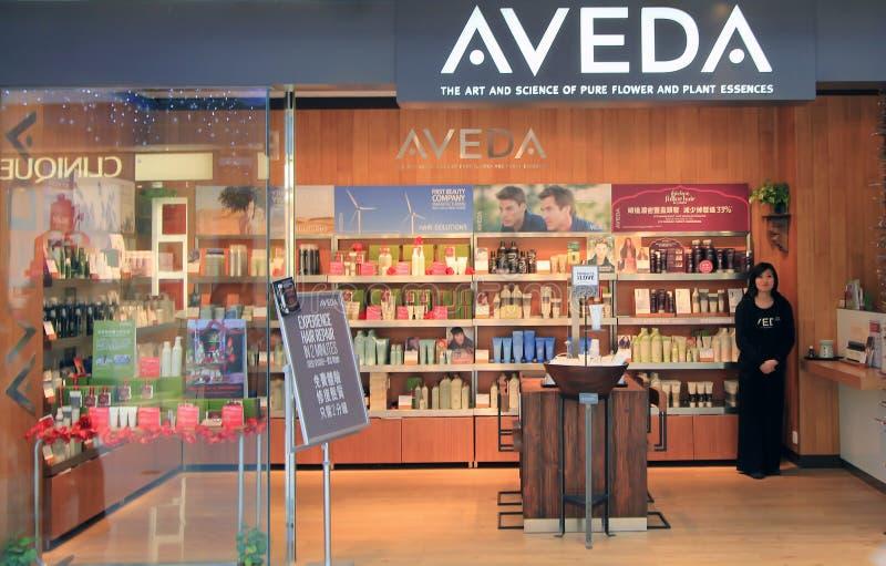 Aveda-Shop in Hong Kong lizenzfreies stockbild