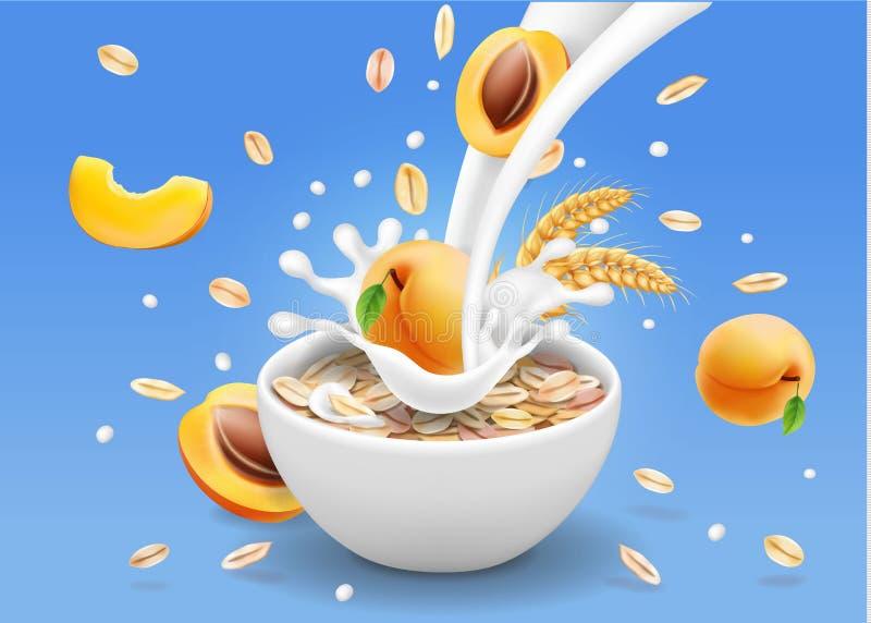 A aveia lasca-se com projeto da propaganda do abricó Farinhas de aveia e respingo do leite na bacia do iogurte ilustração stock