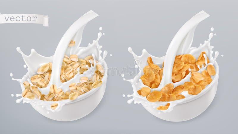 A aveia rolada e o leite espirram Flocos de milho grupo do ícone do vetor 3d ilustração stock