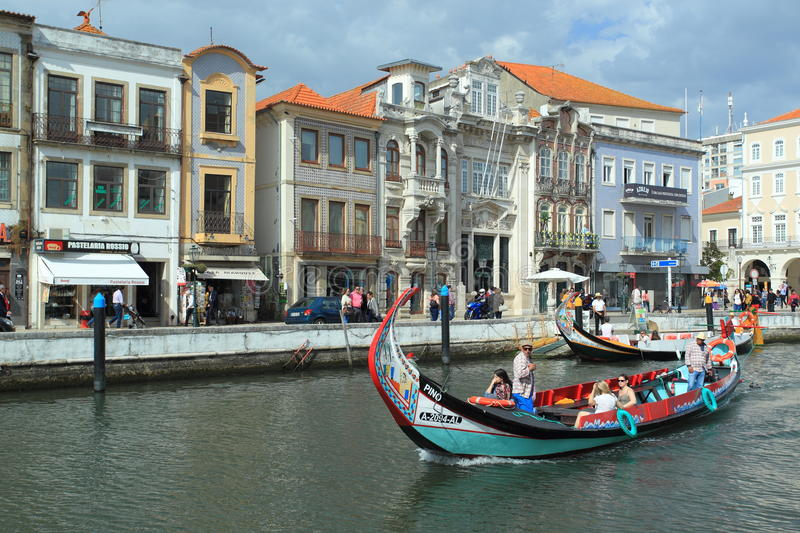 Aveiro canal. Historic center of Aveiro surrounded by the canals royalty free stock photo