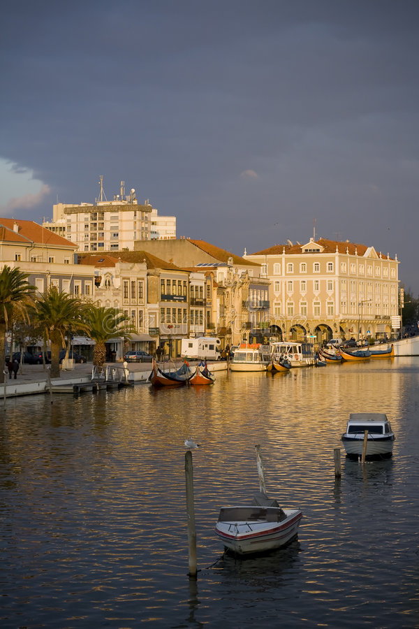 Aveiro city. In the sunset, the venece of Portugal royalty free stock photos
