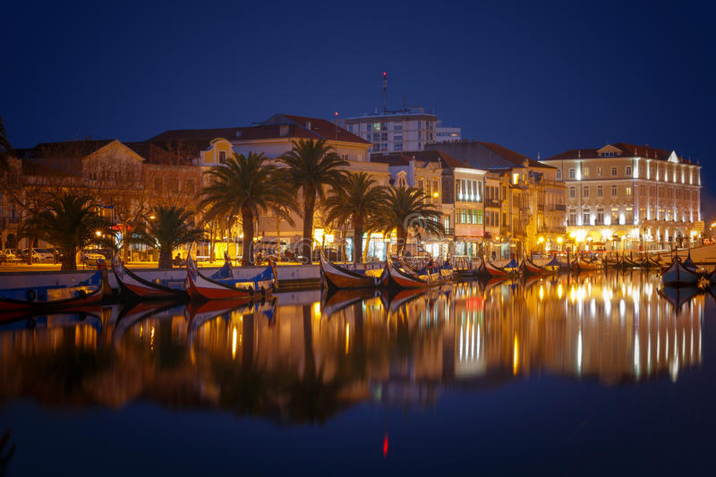 Aveiro city. City of Aveiro canals by night in Portugal stock photos