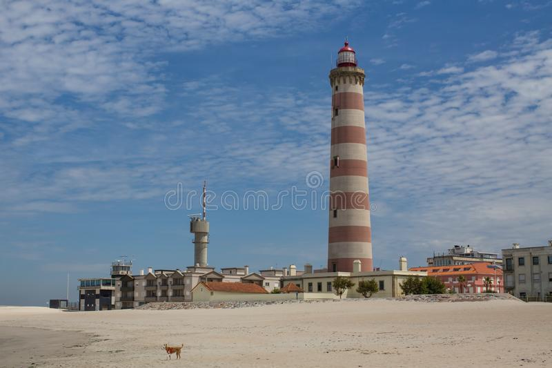 Aveiro Lighthouse also known as Praia da Barra Portugal. Travel. royalty free stock image