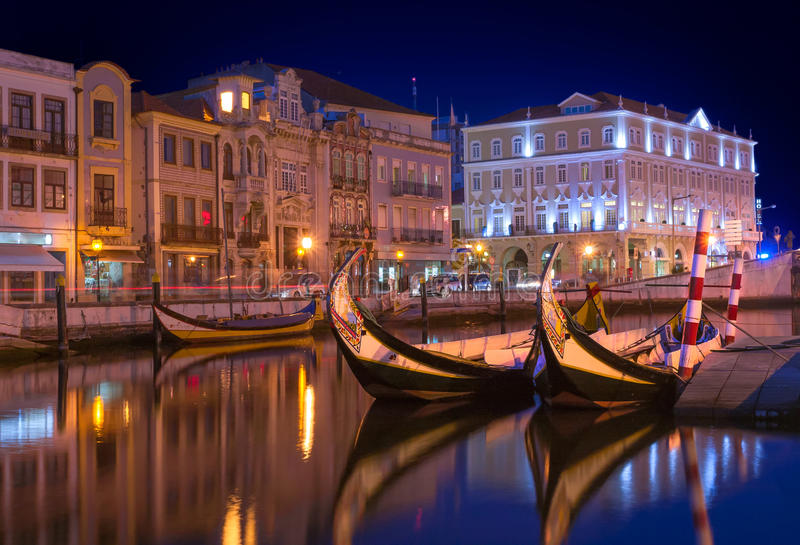 Aveiro by night. Landscape of city of Aveiro in Portugal royalty free stock images