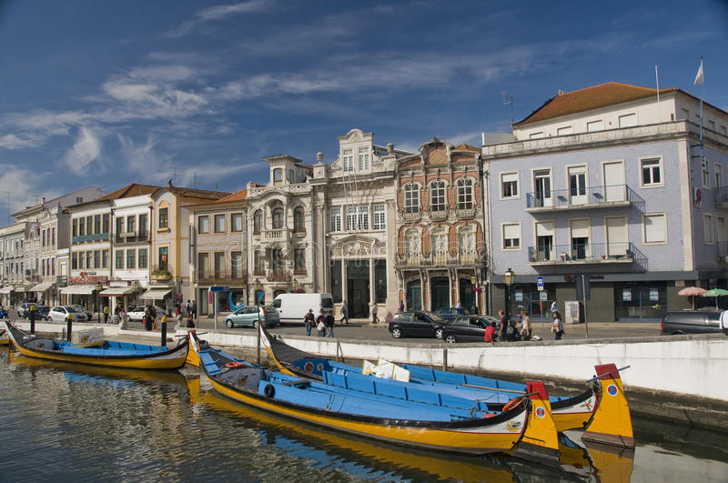 Aveiro, Portugal. Typical Moliceiro in Vouga river. Aveiro, Portugal royalty free stock photography