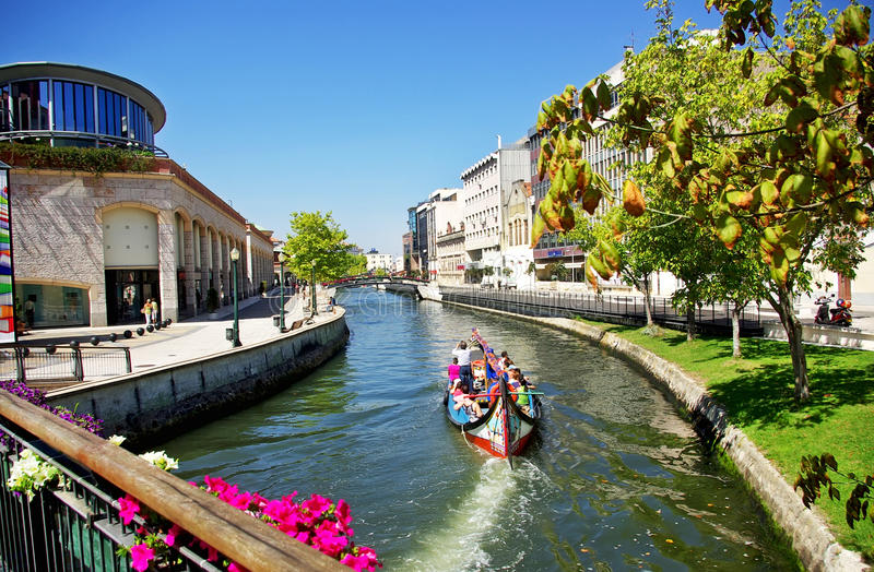 Aveiro, Portugal. Canal with boats, Aveiro, Portugal royalty free stock photo
