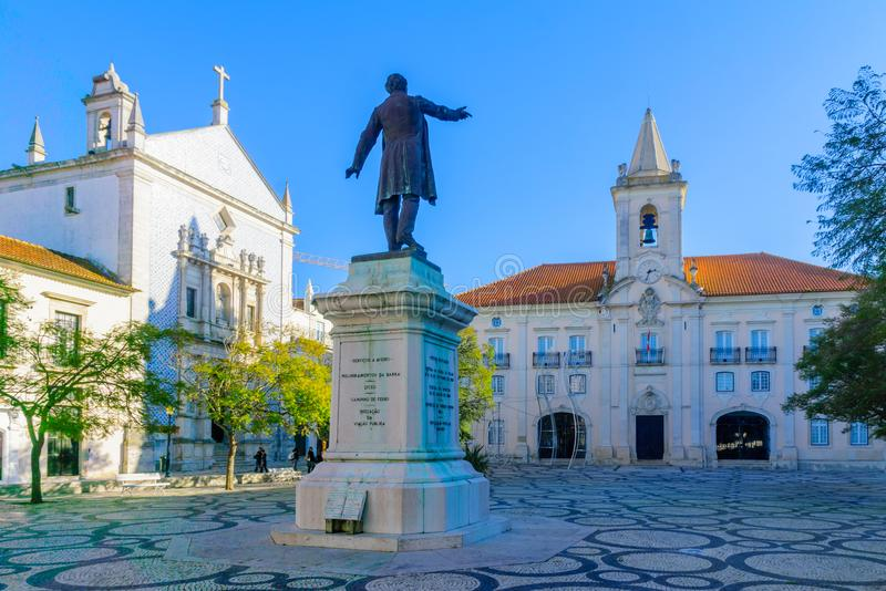 Town hall in Aveiro. AVEIRO, PORTUGAL - DECEMBER 23, 2017: View of the town hall and other monuments, with locals and visitors, in Aveiro, Portugal stock photography