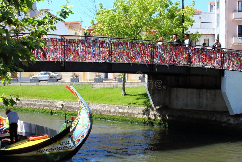 Aveiro, Portugal - June 15, 2018: Bridge of colorful ties. stock photography