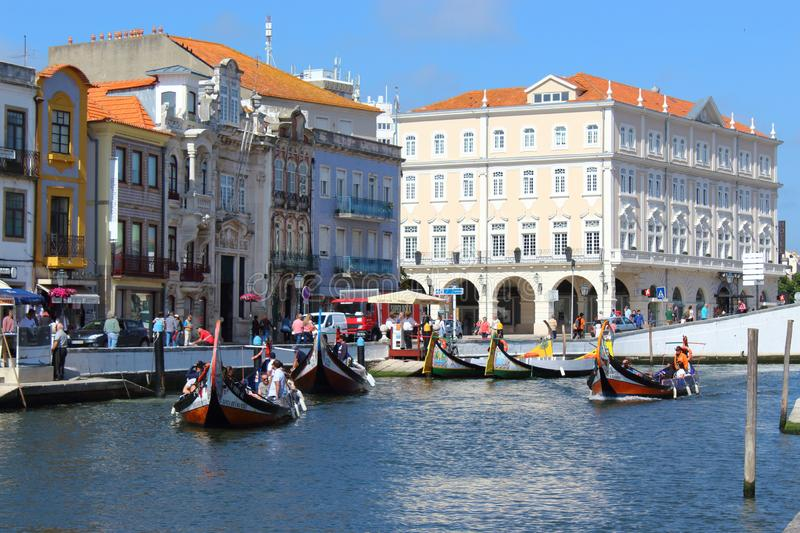 Aveiro, Portugal; June 15, 2018: Traditional boats on the canal in Aveiro. Aveiro, Portugal; June 15, 2018: Traditional boats on the canal in Aveiro Portugal stock images