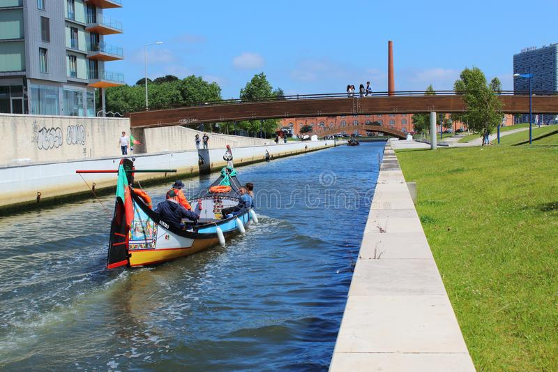 Aveiro, Portugal - June 15, 2018: View for wáter canal whit boat. stock photo